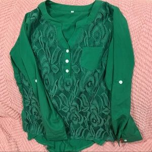 M Lacey Green Gorgeous Blouse NWOT